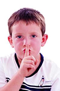 Фотография Пальцы Жесты Белый фон Мальчик Взгляд Лицо Дети