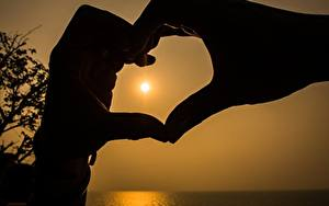 Фотография Пальцы Сердца Руки Силуэт
