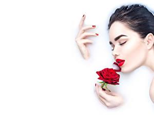 Фотография Пальцы Роза Белый фон Брюнетка Лицо Рука Маникюра Красных Красные губы молодая женщина