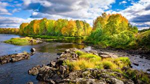 Обои для рабочего стола Финляндия Осень Река Камень Деревья Природа