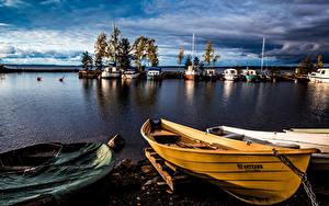 Фотографии Финляндия Речка Пирсы Вечер Лодки Tampere Pirkanmaa