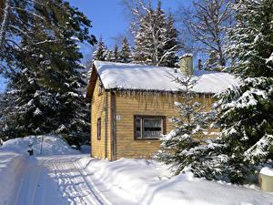 Картинки Финляндия Зимние Здания Снег Heparo Kymenlaakso Города