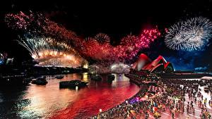 Картинка Салют Австралия Ночь Набережной Сидней Opera House Города