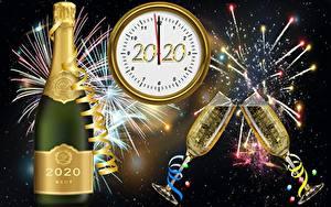 Картинки Фейерверк Шампанское Циферблат Новый год Бокалы 2020 Бутылки