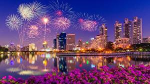 Картинка Салют Здания Сингапур В ночи Залив Города