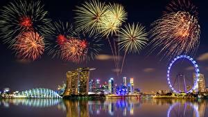 Фотография Фейерверк Сингапур Ночные город
