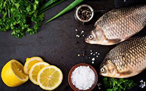 Картинки Рыба Лимоны Перец чёрный Овощи Соль