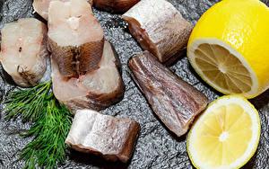 Фото Рыба Лимоны Укроп Часть Пища