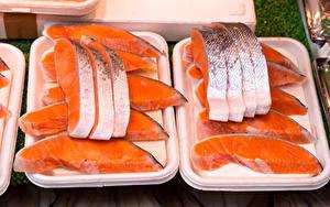 Картинка Рыба Лососи Кусок Еда Еда