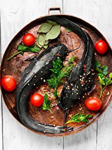 Фотографии Рыба Томаты Приправы Укроп Пища