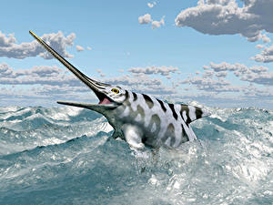 Картинки Рыбы Море Небо Облачно Eurhinosaurus Животные 3D_Графика