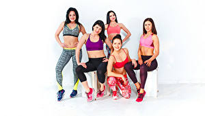 Фотография Фитнес Сидя Брюнетка Шатенки Улыбка Смотрит 5 Спорт Девушки