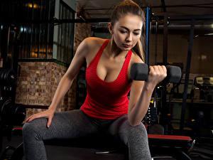 Обои Фитнес Шатенка Гантель Майка Тренировка молодые женщины Спорт