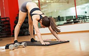 Фотография Фитнес Шатенка Физические упражнения Руки Девушки Спорт