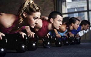Фото Фитнес Гантелями Отжимание Физическое упражнение Спортивная Молодые женщины Девушки