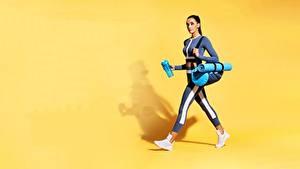 Фотография Фитнес Сумка Цветной фон Униформе молодые женщины Спорт