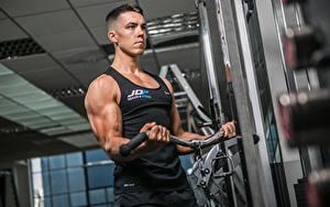Обои Фитнес Мужчина Спортзал Тренировка Руки Мышцы Спорт