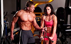 Фото Фитнес Мужчины Двое Грудь Живот Мускулы Спорт