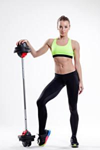 Обои Фитнес Белом фоне Шатенка Штанга Живота Девушки Спорт
