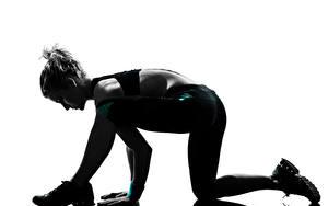 Фото Фитнес Силуэта training elongation Спорт Девушки