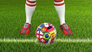 Обои Футбол Трава Мячик Ног спортивные 3D_Графика