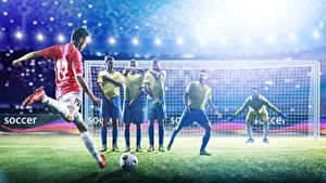 Фотографии Футбол Мужчины Вратарь в футболе Униформа Мяч Бьет Спорт