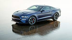 Обои Ford Синий Mustang 2018 Bullitt Kona Blue