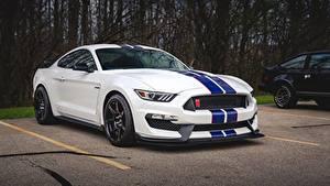 Фотографии Форд Белые Полоски Парковка Mustang Shelby GT350 машины