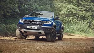 Фото Форд Спереди Синие Пикап кузов Ranger Raptor 2018 машины