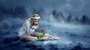 Фотография Леса Розы Тумане Блондинок Сидя Ноги Фантастика 3D_Графика Девушки