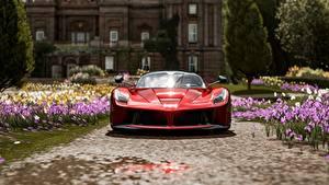 Фотографии Forza Horizon 4 Спереди Красных Металлик Ferrari Scuderia Italia Автомобили 3D_Графика