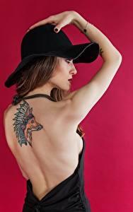 Фотографии Лисы Цветной фон Модель Позирует Руки Татуировки Шляпы Шатенка Спины Индейца