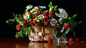 Картинки Земляника Маргаритка Листва Корзина Пища Цветы