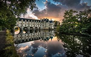 Фото Франция Замки Река Дерева Отражении Башня Château de Chenonceau Природа