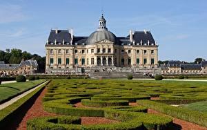 Обои Франция Дизайна Дворца Кустов Chateau De Vaux Le Vicomte город