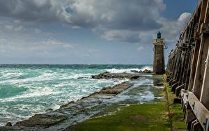 Фотография Франция Побережье Маяк Облако Capbreton