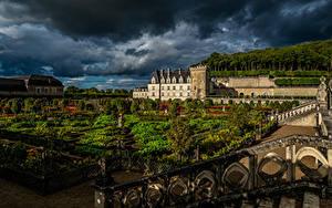 Обои Франция Сады Вечер Ландшафтный дизайн Дворца Газоне Забор Chateau Villandry and gardens Природа