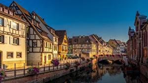 Обои Франция Здания Мосты Водный канал Набережная Colmar