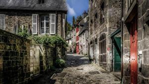 Фотографии Франция Дома Улиц Забора HDRI Dinan Brittany город