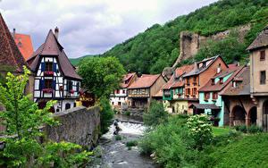 Фото Франция Дома Река Alsace, Kaysersberg город