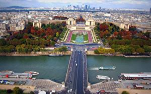 Картинка Франция Дома Реки Мост Париже Сверху