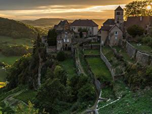 Фотография Франция Здания Рассветы и закаты Забор Chateau-Chalon город