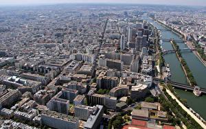 Фотографии Франция Реки Здания Мост Париже Сверху Montparnasse город