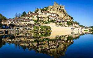 Фото Франция Реки Здания Отражении Утес Dordogne, Beynac-et-Cazenac Природа