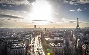 Картинки Франция Небо Париже Горизонт Сверху Города