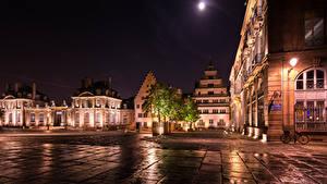 Фотографии Франция Страсбург Здания Улице Ночные Уличные фонари