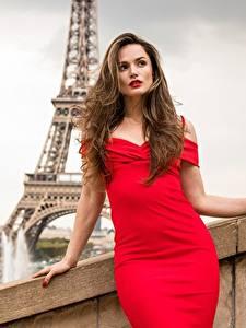 Фото Франция Tori Black Шатенки Платье Красная Фотомодель Париж молодая женщина