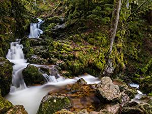 Картинка Франция Водопады Камень Мха Ручеек Cascade de Mérelle