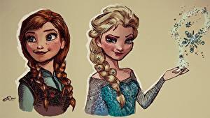 Фото Холодное сердце Рисованные Картина Вдвоем Косы Девушки