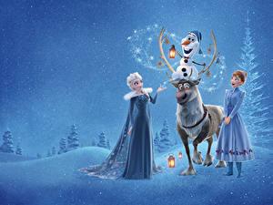 Фотографии Холодное сердце Олени Disney Elsa, Olaf, Anna, Sven мультик Девушки